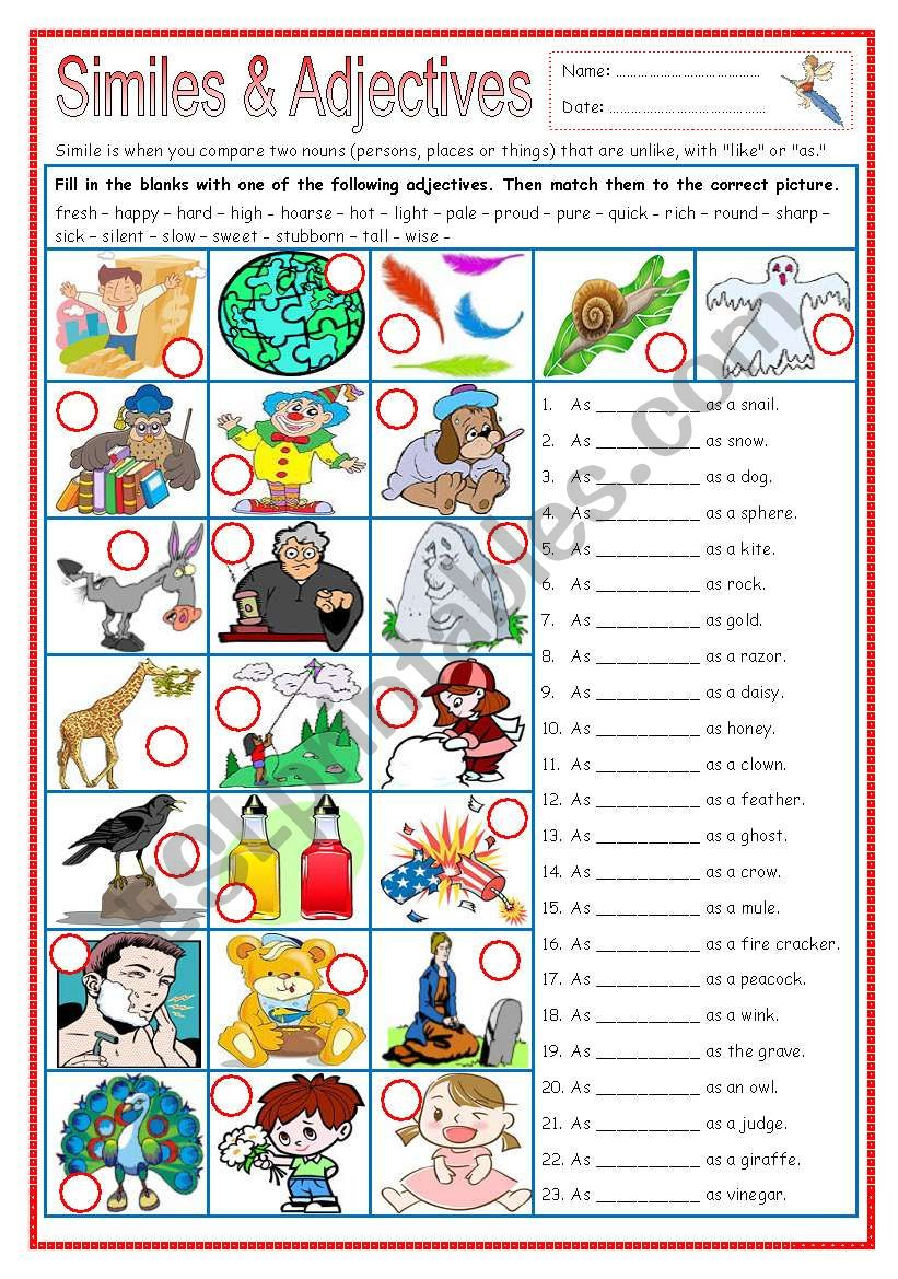 Similes & Adjectives (part 2) worksheet