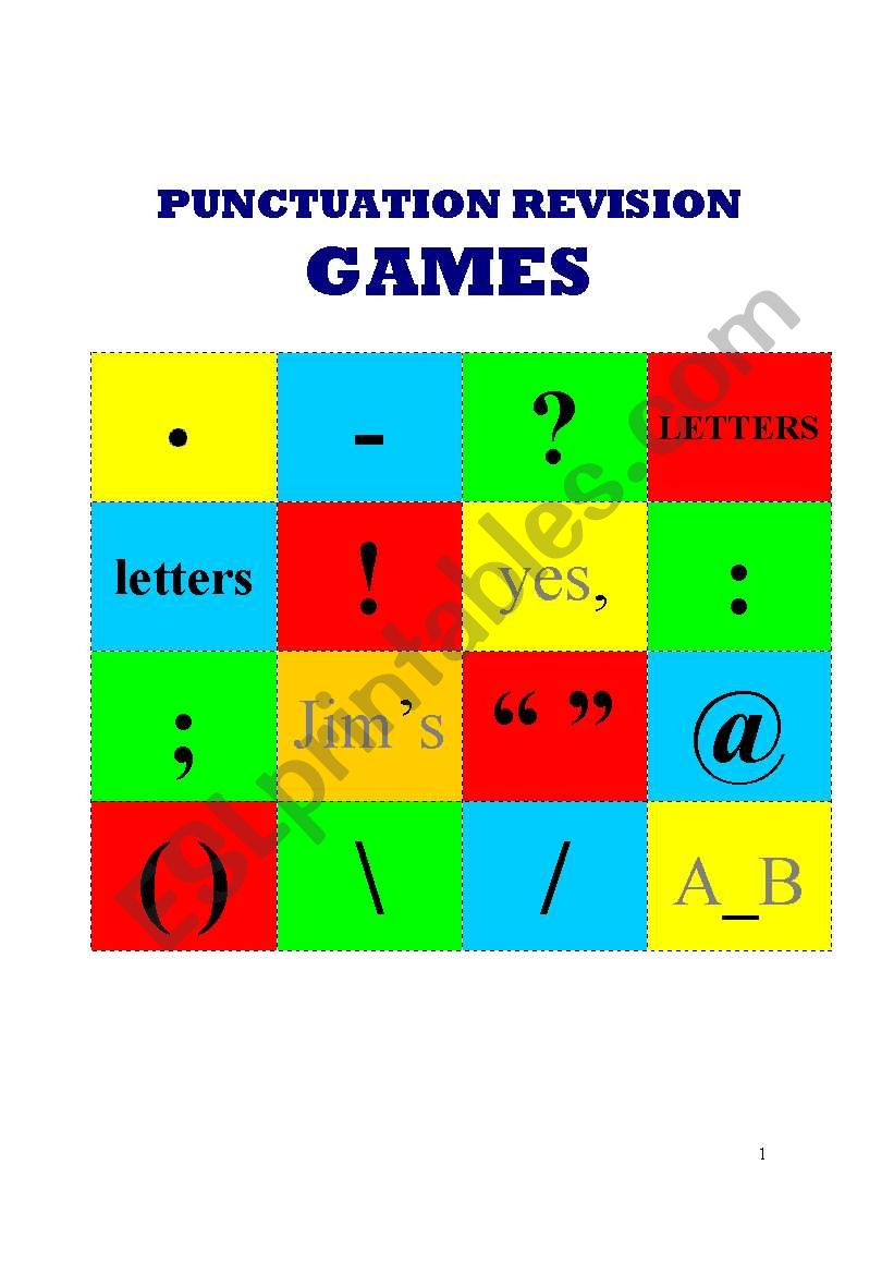 Punctuation games worksheet