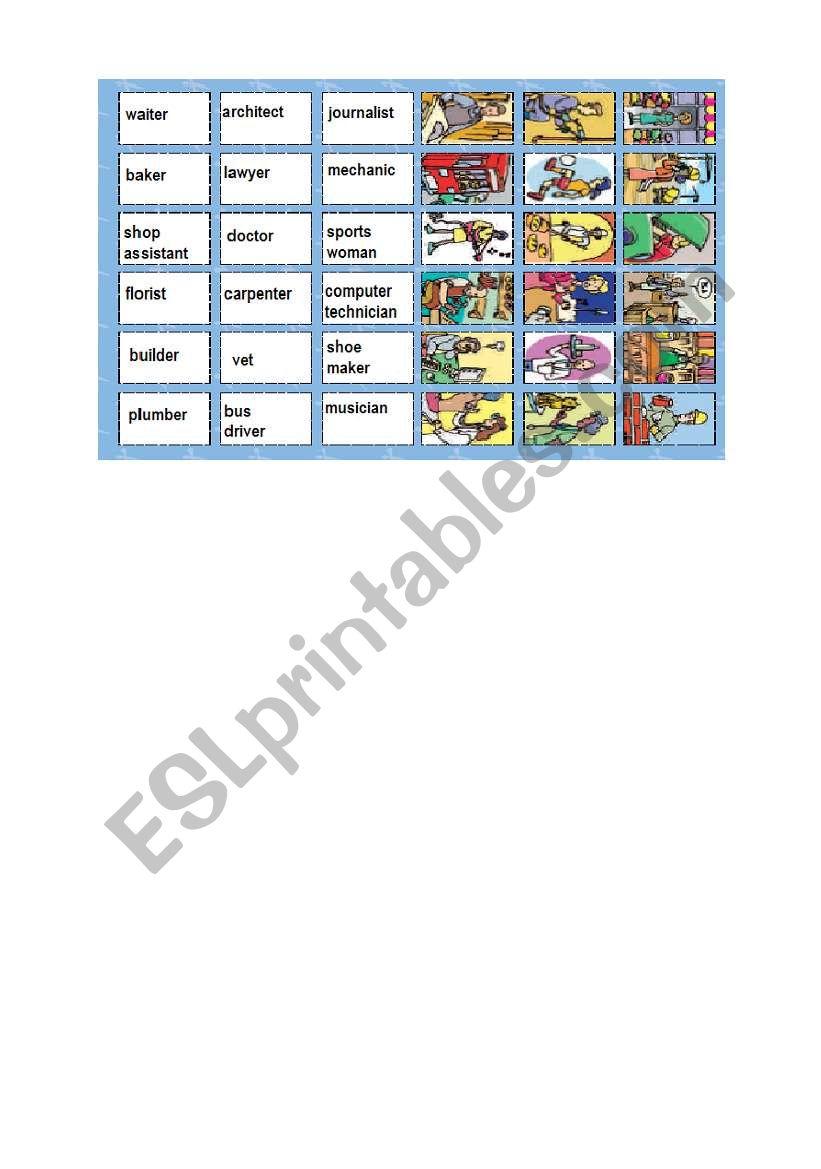 jobs memory cards worksheet