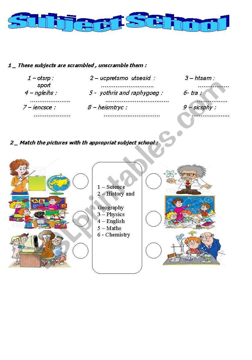 subject school worksheet