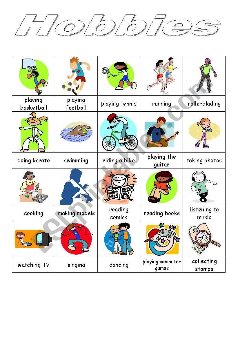 Hobbies - pictionary worksheet