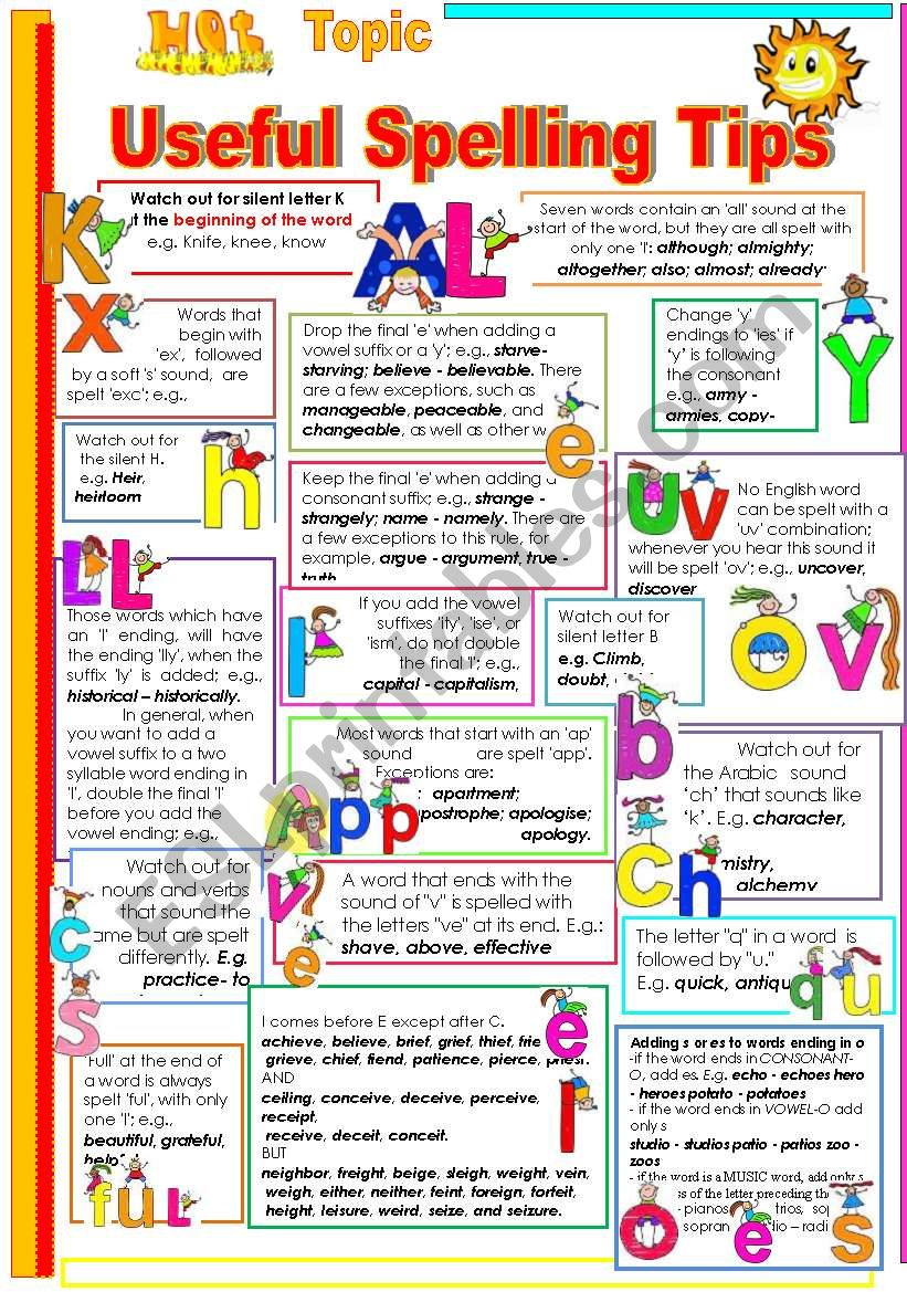 USEFUL SPELLING TIPS FOR YOUR STUDENTS