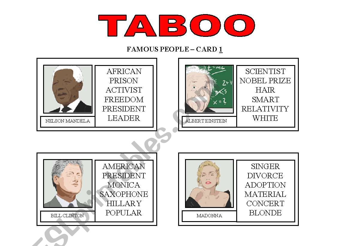 TABOO GAME: Famous People worksheet