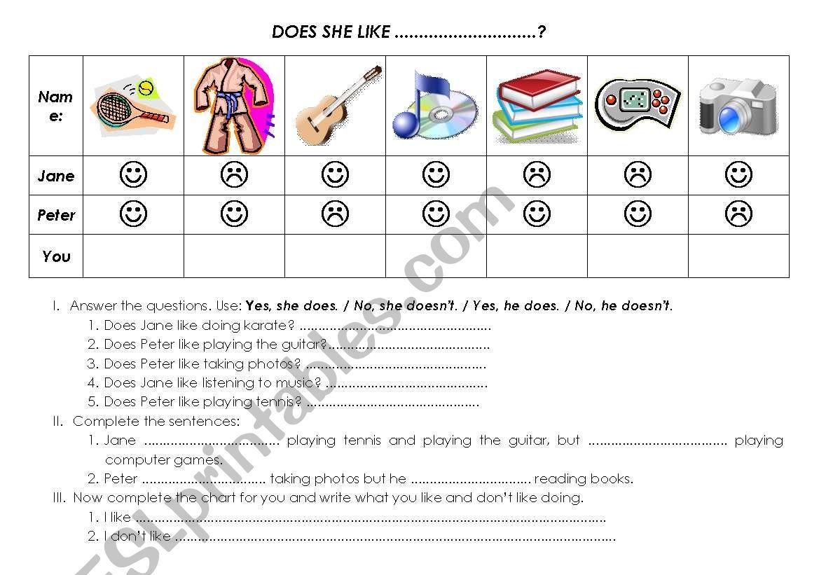 Does she like...? worksheet