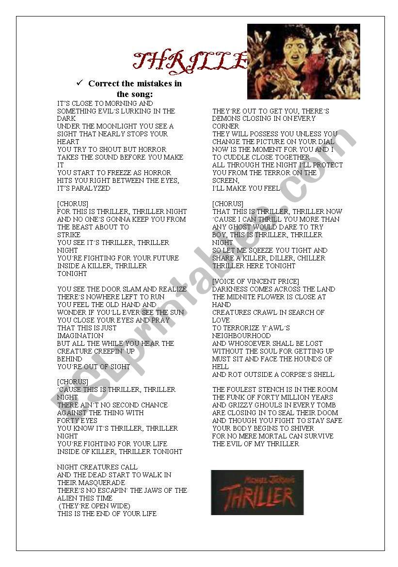 THRILLER  SONG 3-05-09 worksheet