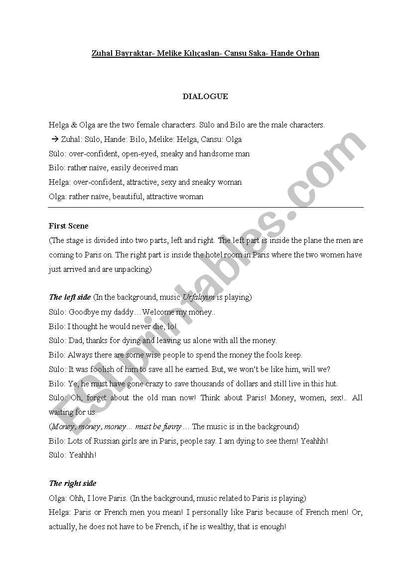 English worksheets: a script to act out