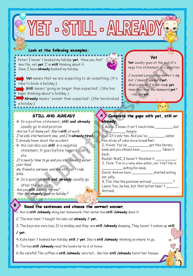 YET - STILL - ALREADY worksheet