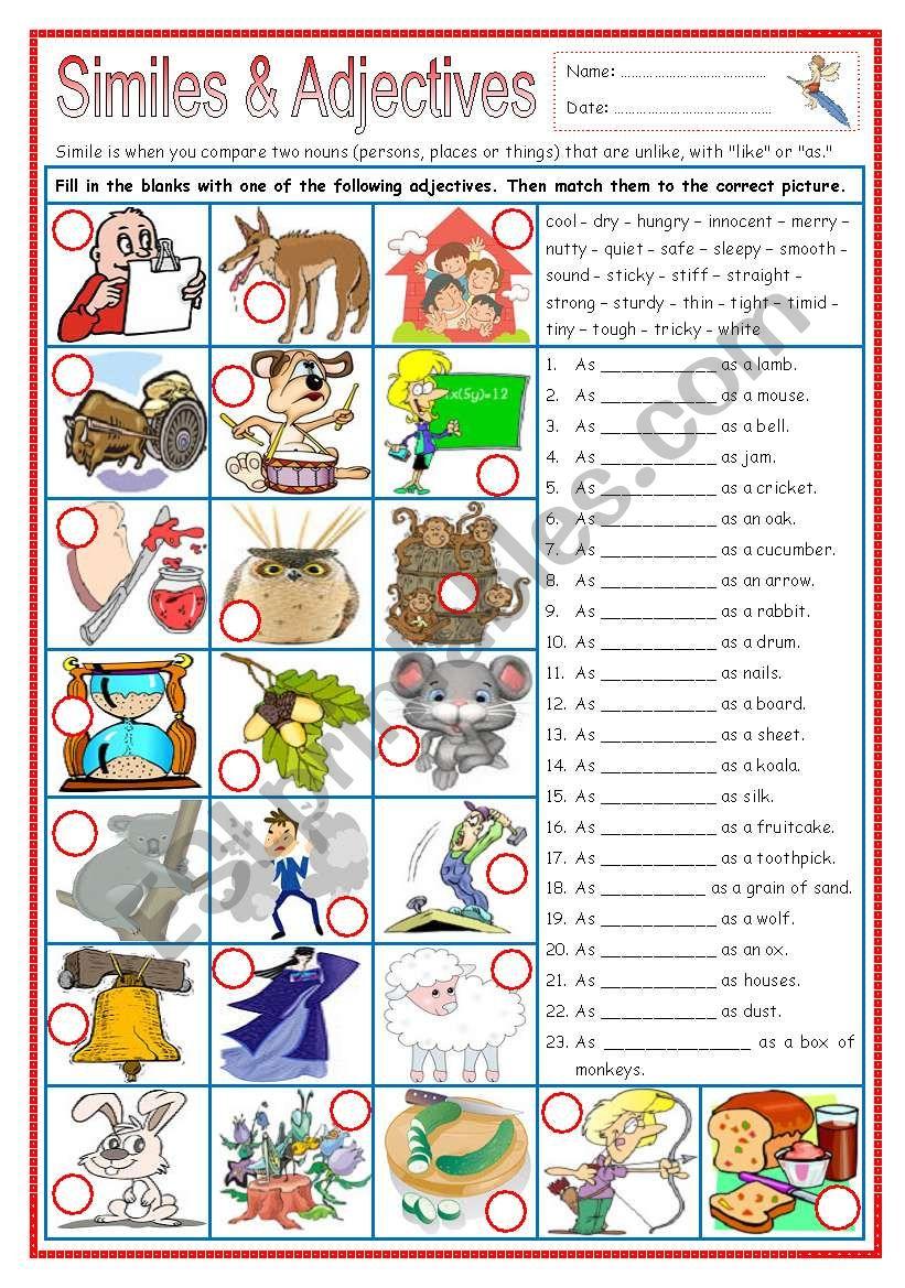 Similes & Adjectives (part 3) worksheet