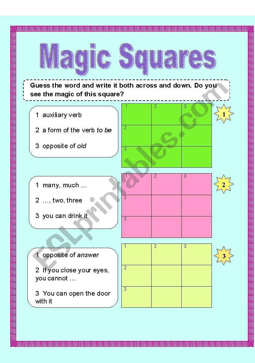 Vocabulary Squares Worksheet : Magic squares esl worksheet by baiba