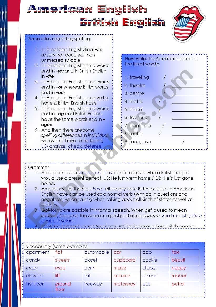 American English British English (2 pages)