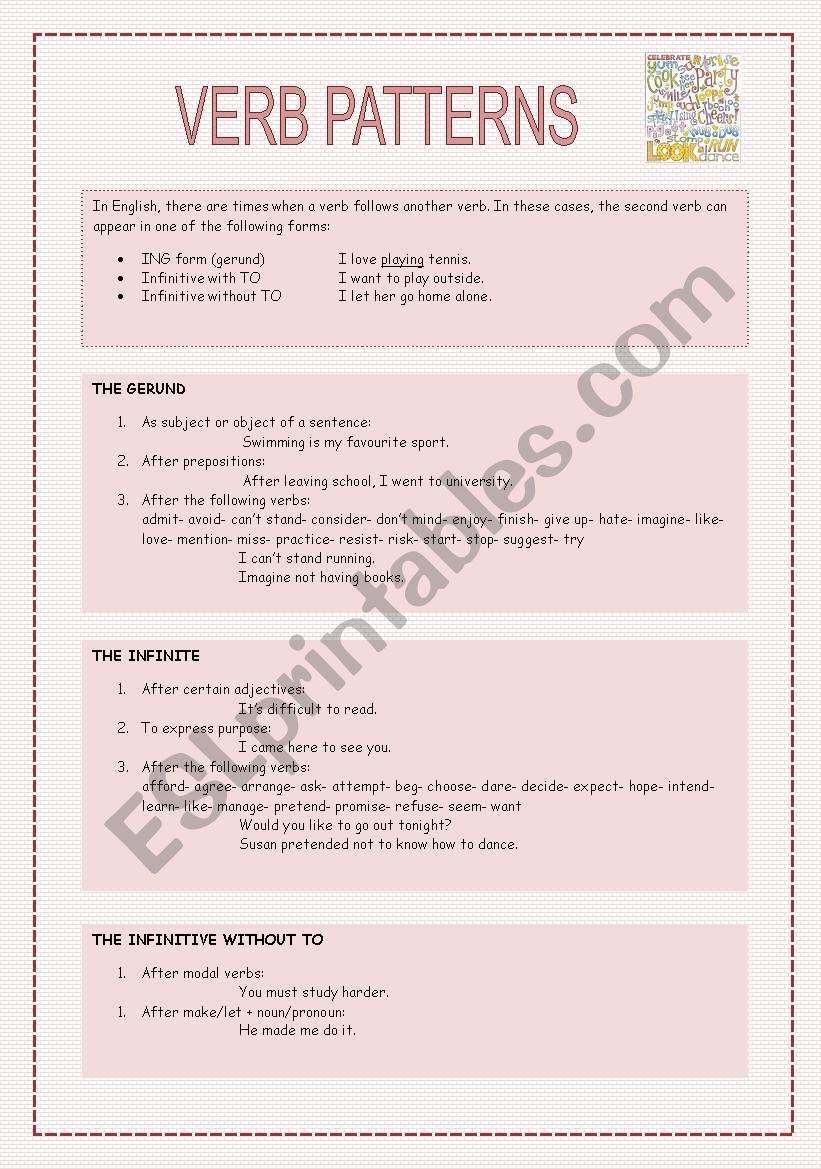 verb patterns esl worksheet by neusferris. Black Bedroom Furniture Sets. Home Design Ideas