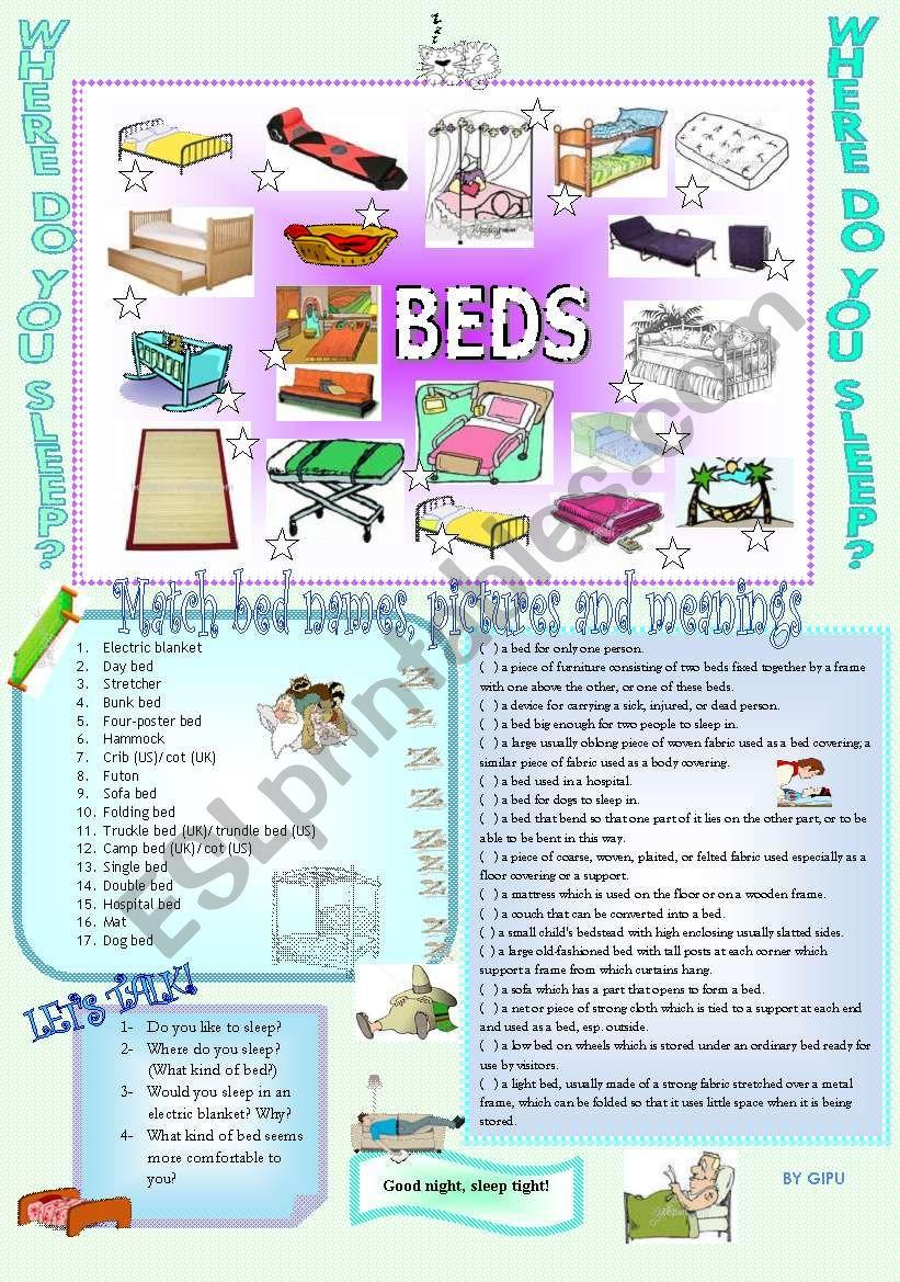 WHERE DO YOU SLEEP? worksheet