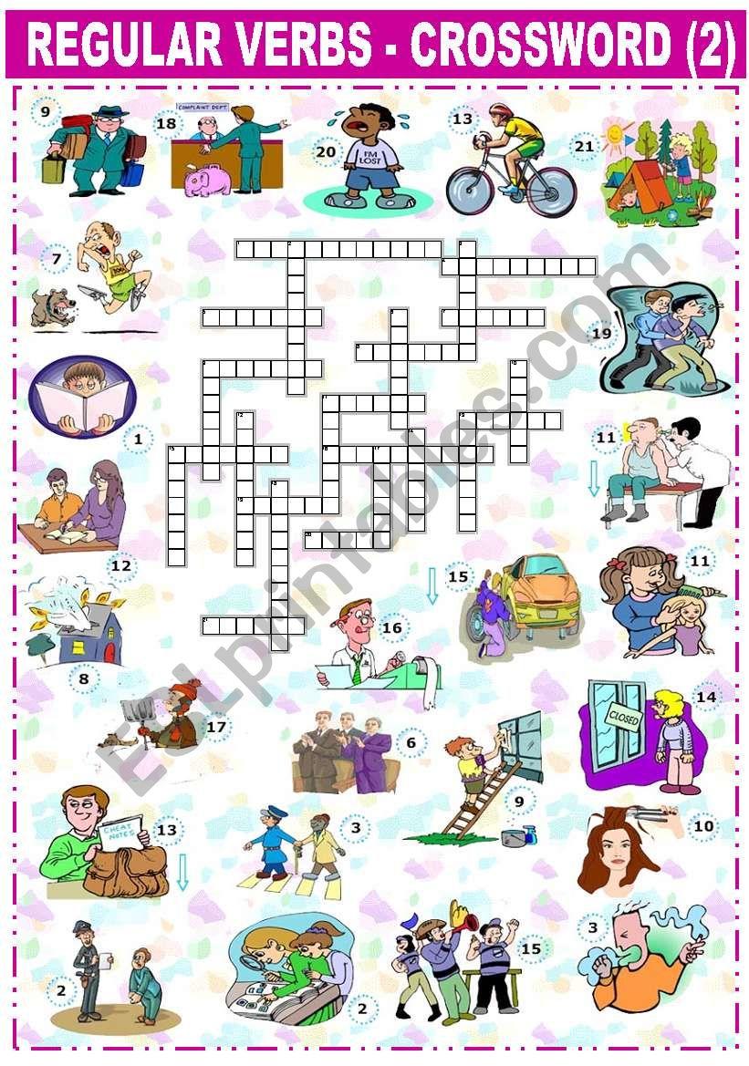 REGULAR VERBS - CROSSWORD -2- worksheet