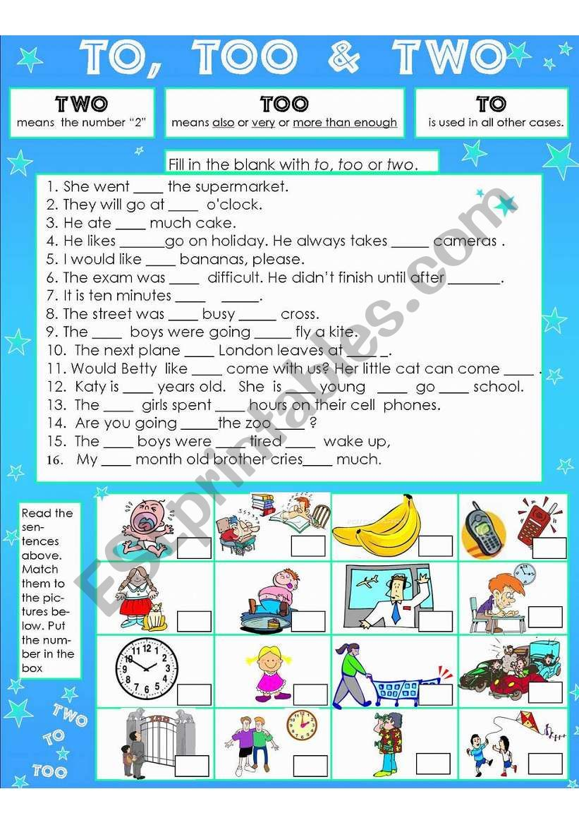 To, Too & Two - ESL worksheet by susiebelle Intended For To Too Two Worksheet