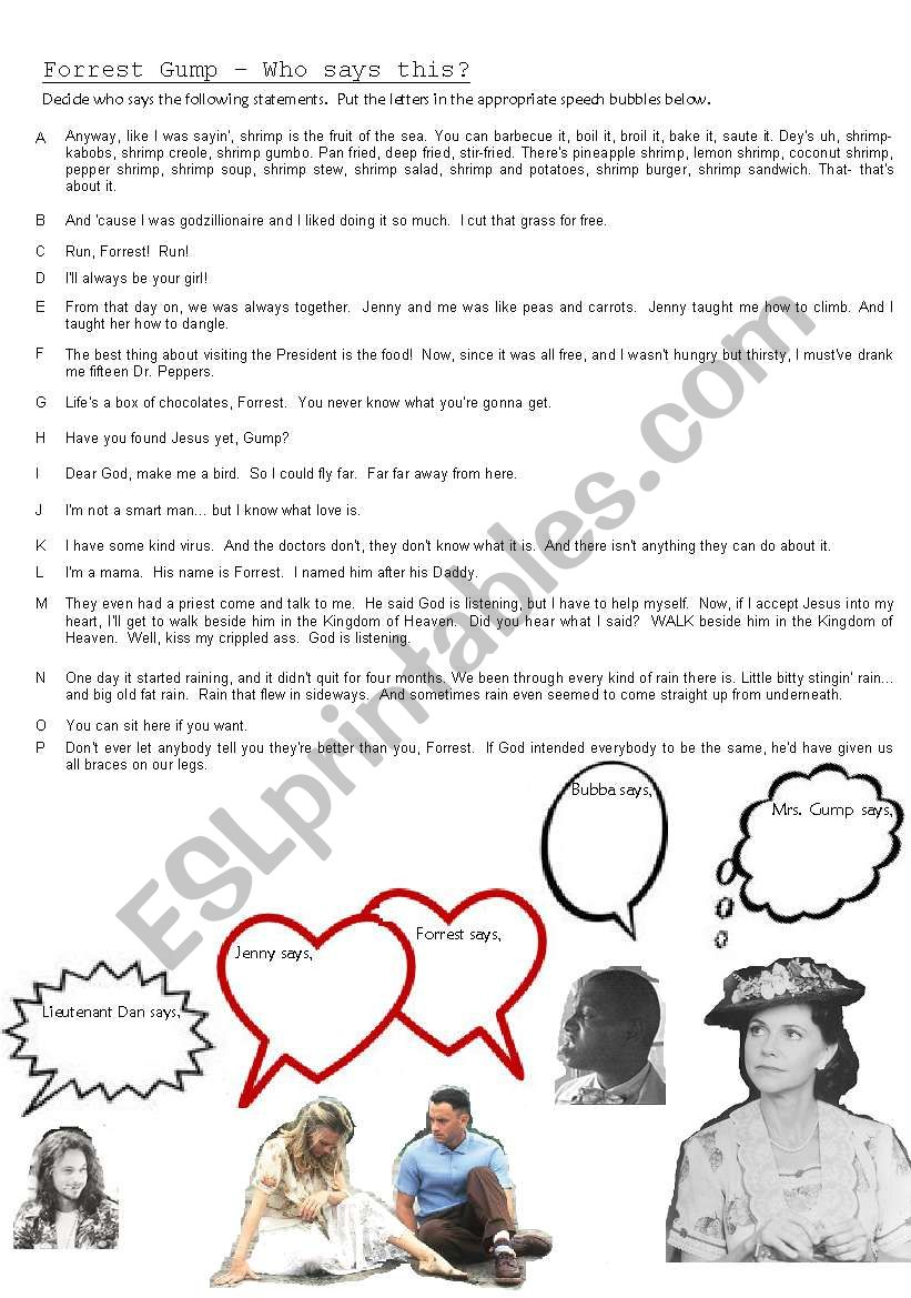 Forrest Gump - Who says this? worksheet
