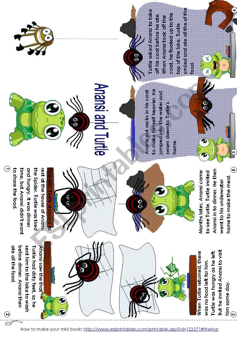 graphic about Printable Anansi Stories titled Anansi and Turtle (mini_guide) - ESL worksheet as a result of