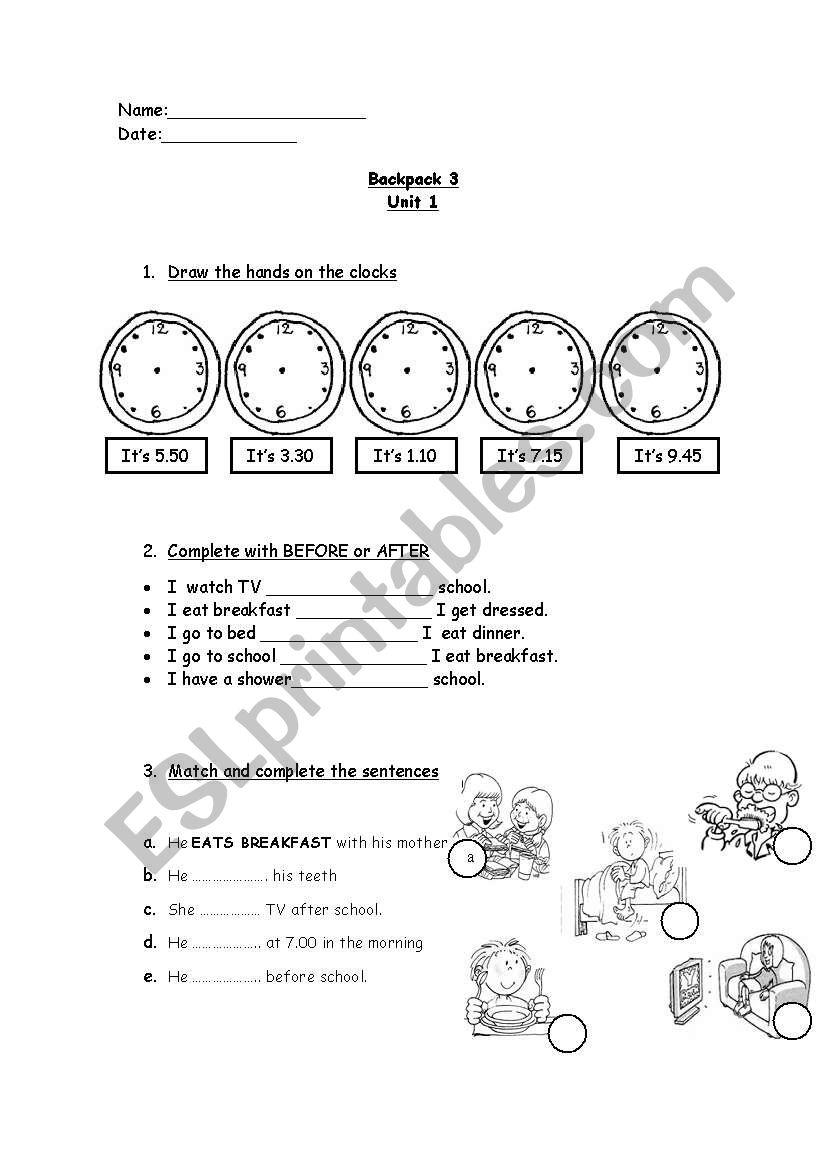 BACKPACK 3 (test unit 1) worksheet