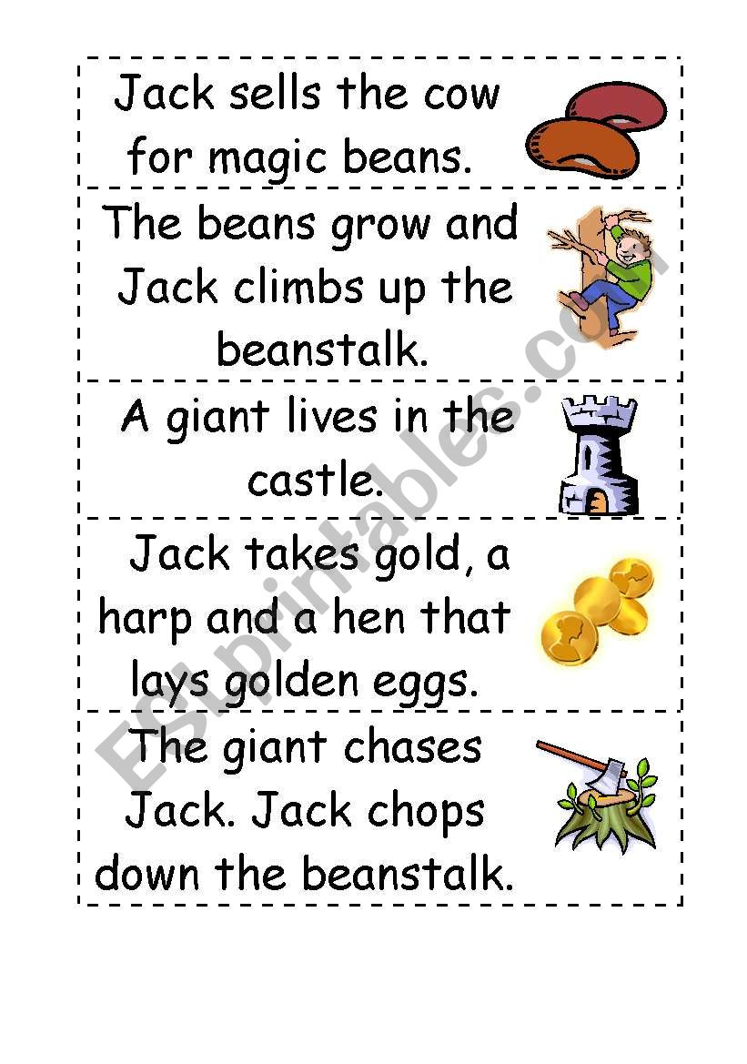 picture relating to Jack and the Beanstalk Printable Story titled Jack and the beanstalk tale term buy - ESL worksheet via