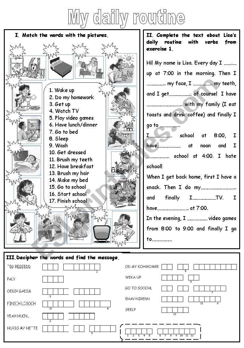 picture regarding Daily Work Sheet named my everyday program - ESL worksheet via teletubies