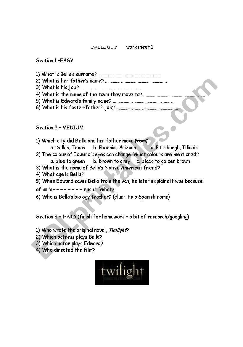 Twilight quiz worksheet 1 worksheet