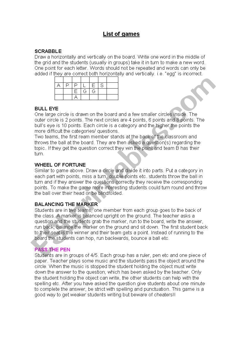 games for young learners worksheet