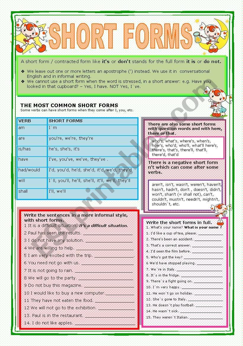 SHORT FORMS worksheet