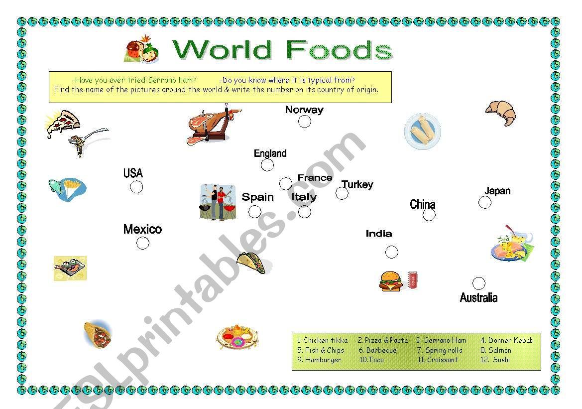 Magical World food map worksheet