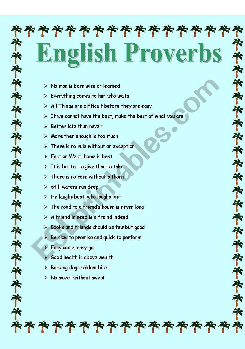 English Proverbs worksheet