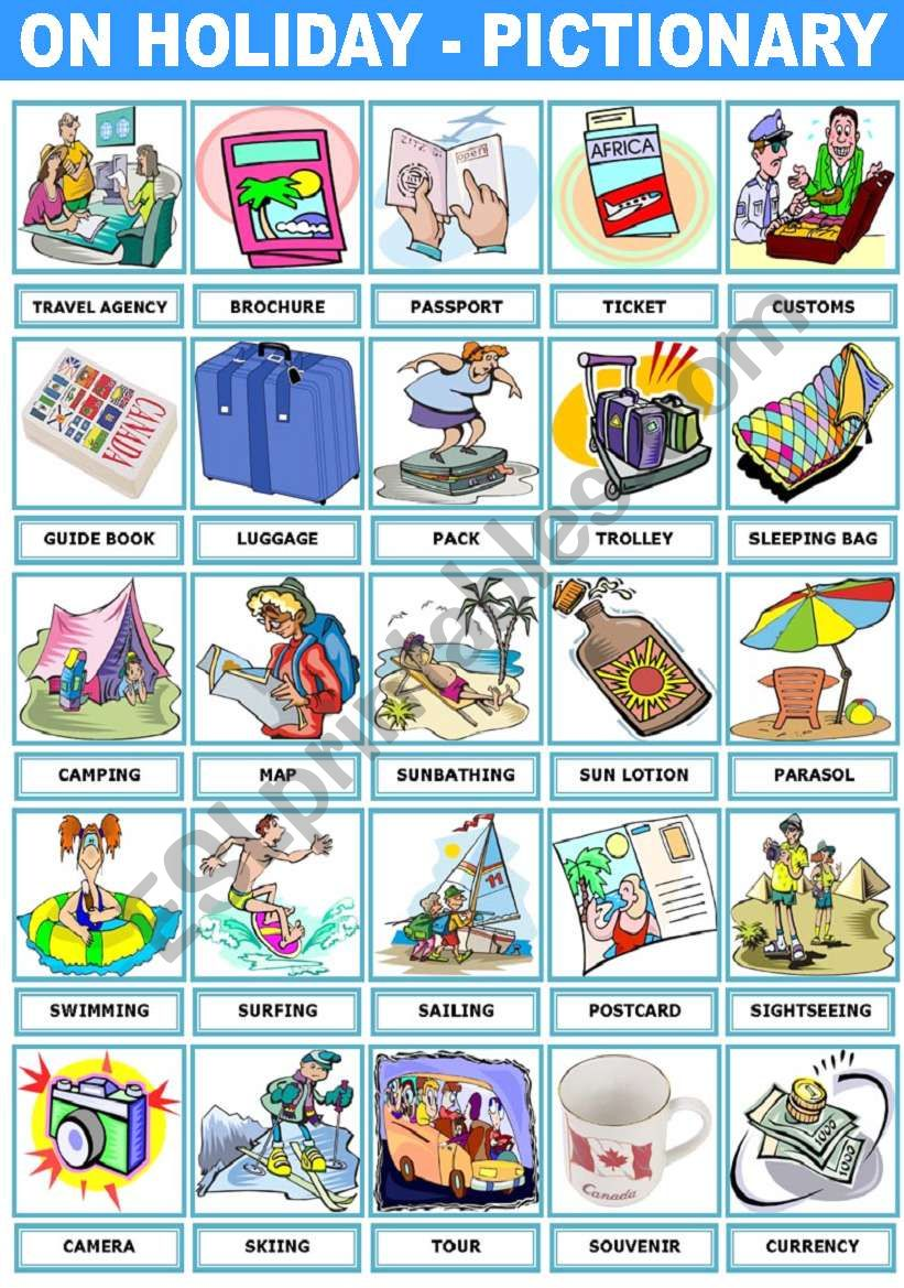 ON HOLIDAY – PICTIONARY - ESL worksheet by Katiana