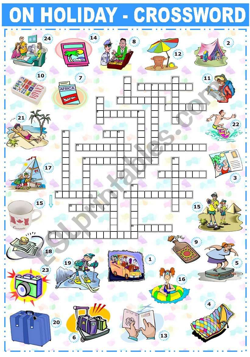 English worksheets: ON HOLIDAY - CROSSWORD