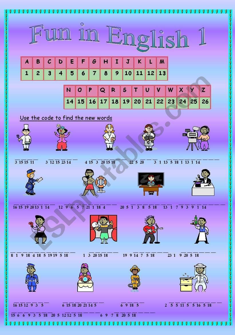 Fun in English 1 (part1) worksheet
