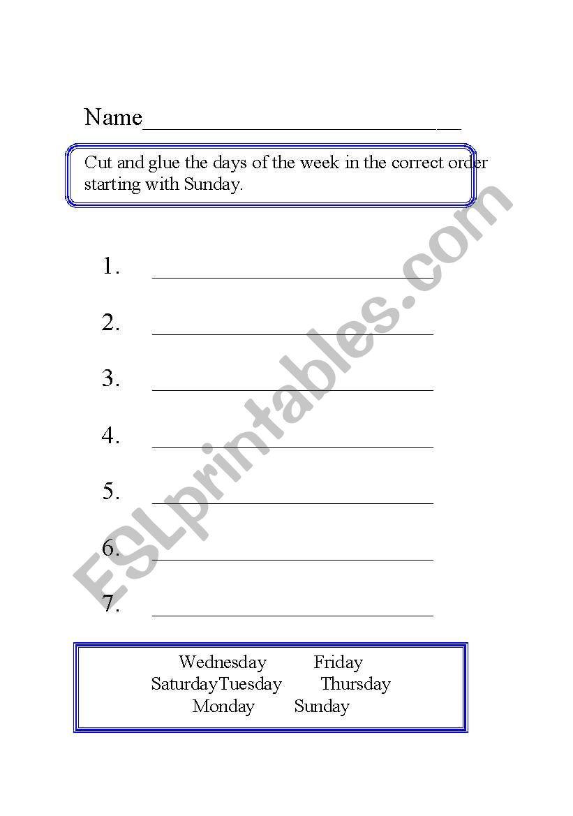 Days of the Week Activities worksheet