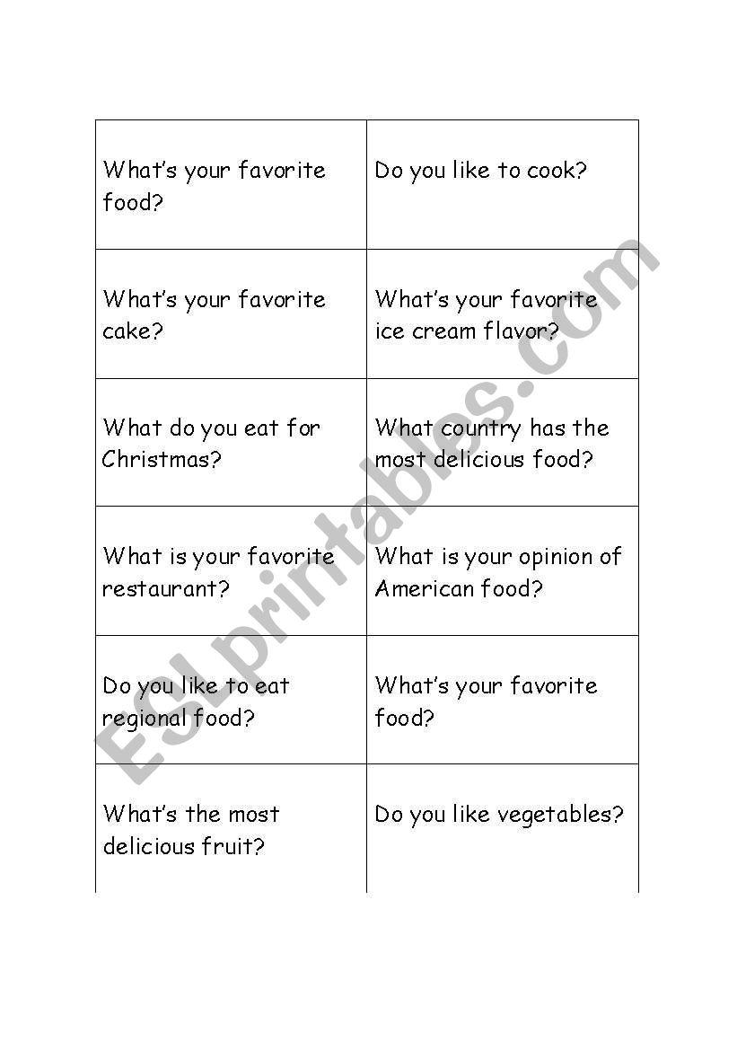 Food cards for conversation worksheet