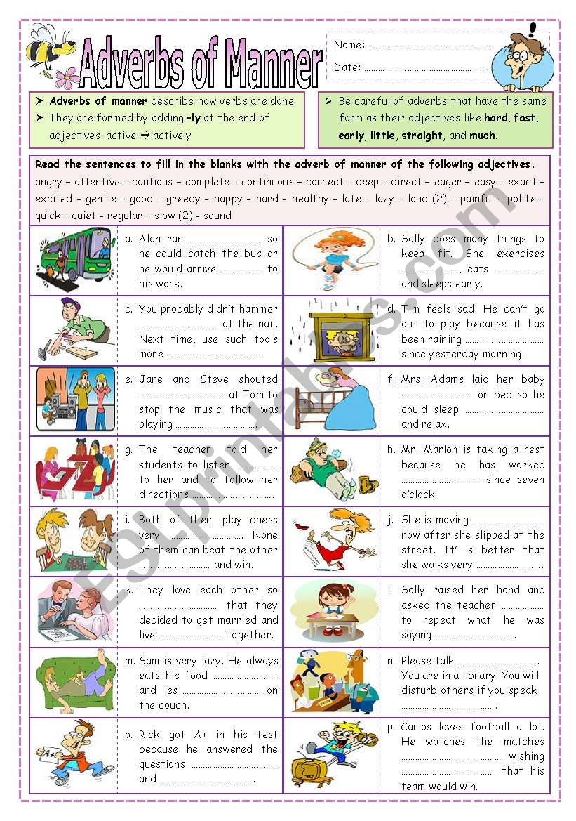 Adverbs of Manner (part  2) worksheet