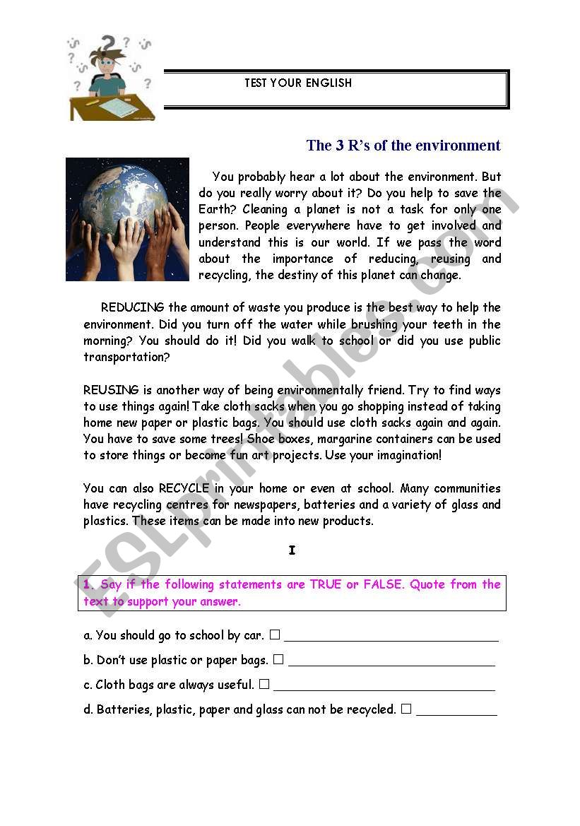 The R´s of the environment worksheet