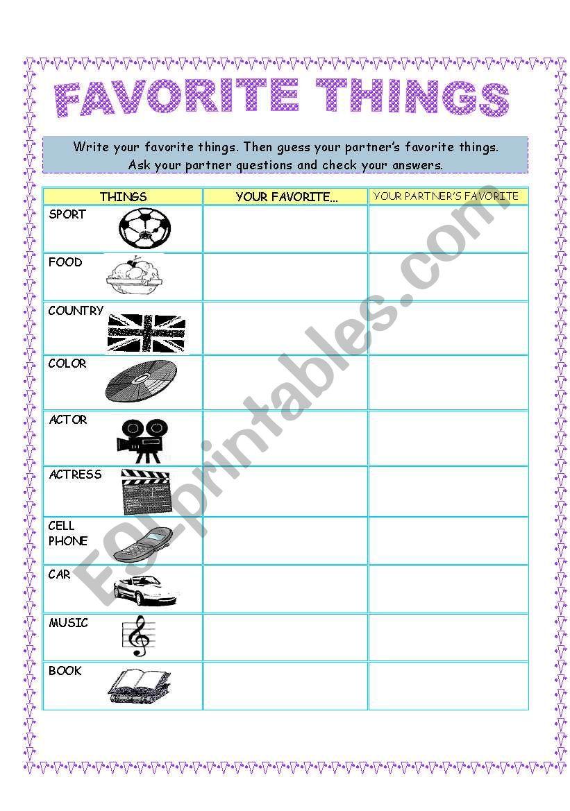 FAVORITE THINGS worksheet
