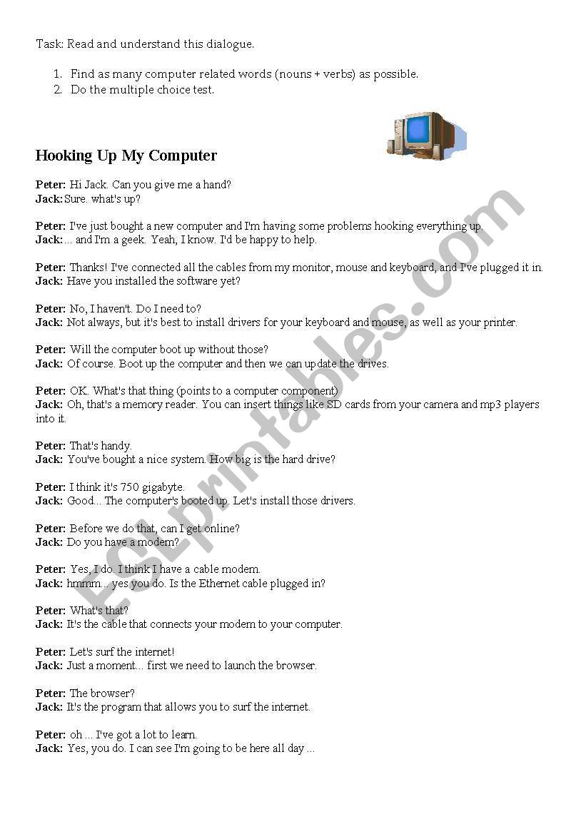 Hooking up my computer worksheet