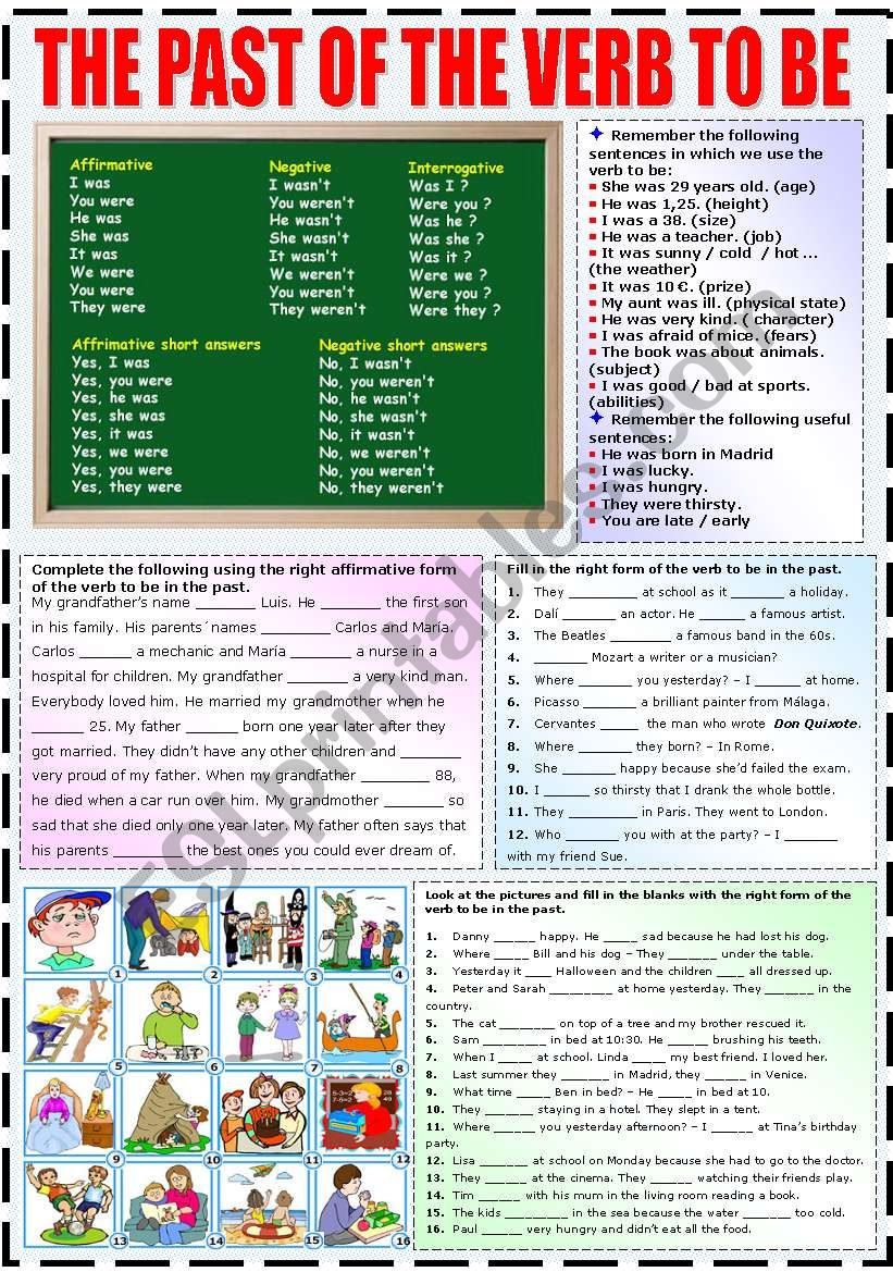 THE PAST OF THE VERB TO BE worksheet
