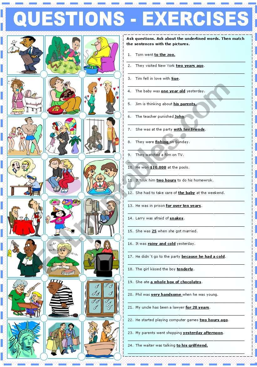 QUESTIONS- EXERCISES worksheet