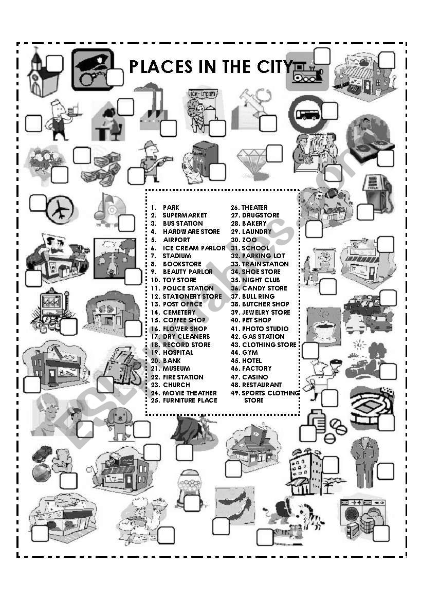 PLACES IN THE CITY (B&W) worksheet