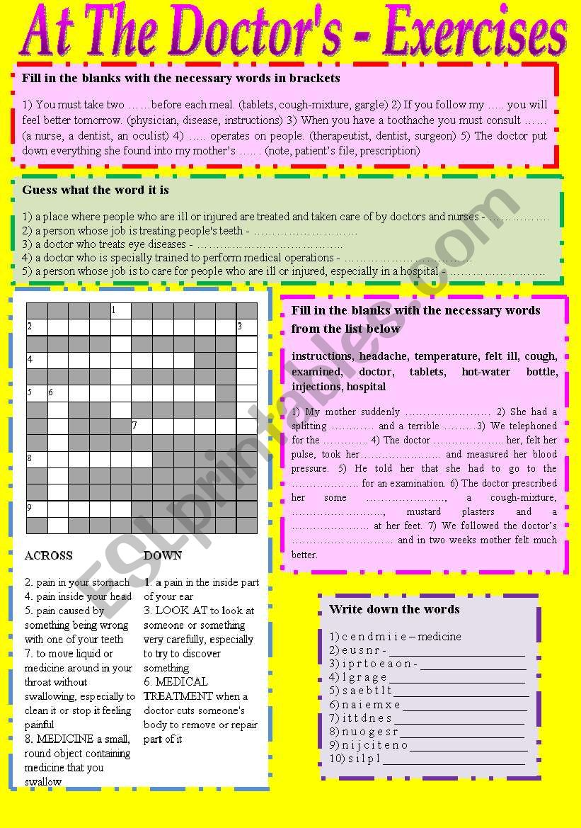 At The Doctor´s - Exercises worksheet