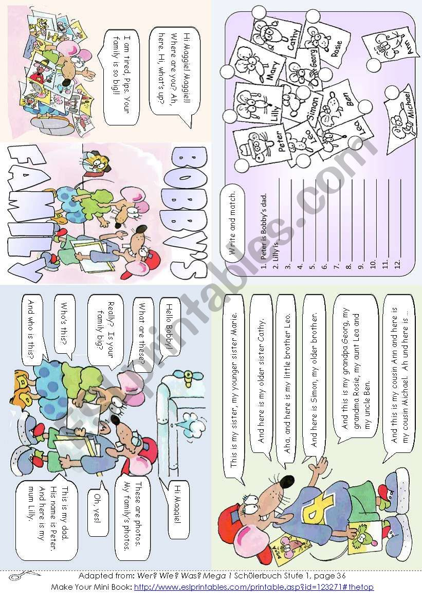 Bobby´s Family (Mini Book) worksheet
