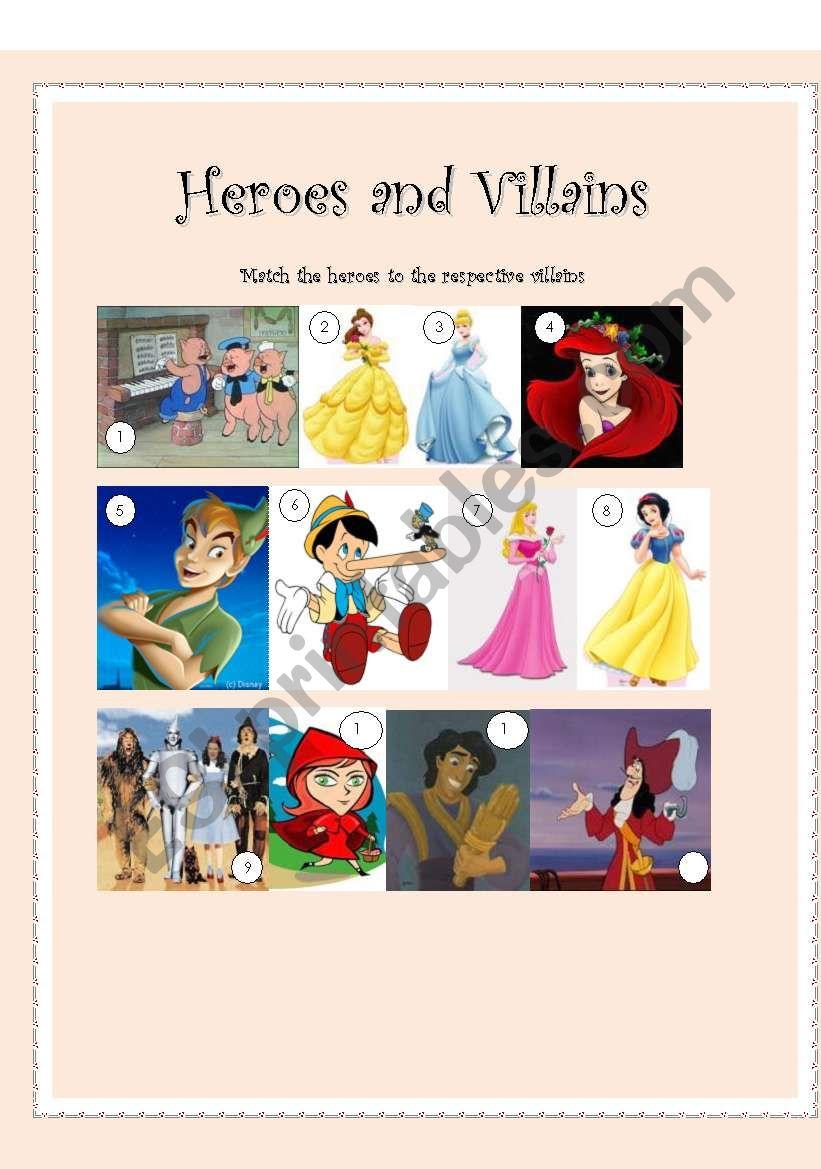 Heroes and Villains worksheet
