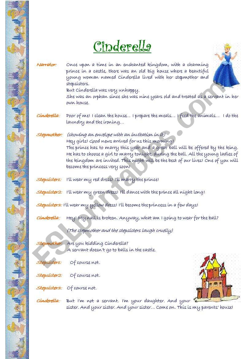A short play: Cinderella worksheet
