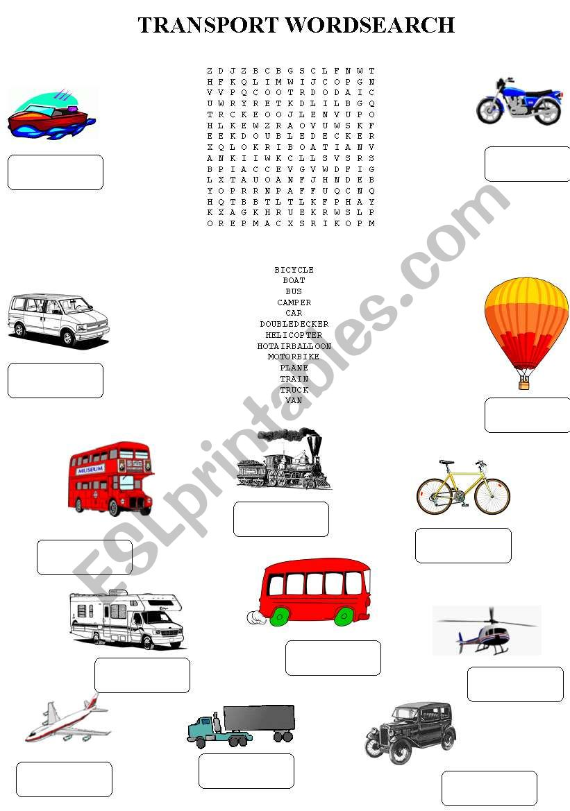 transport wordsearch worksheet