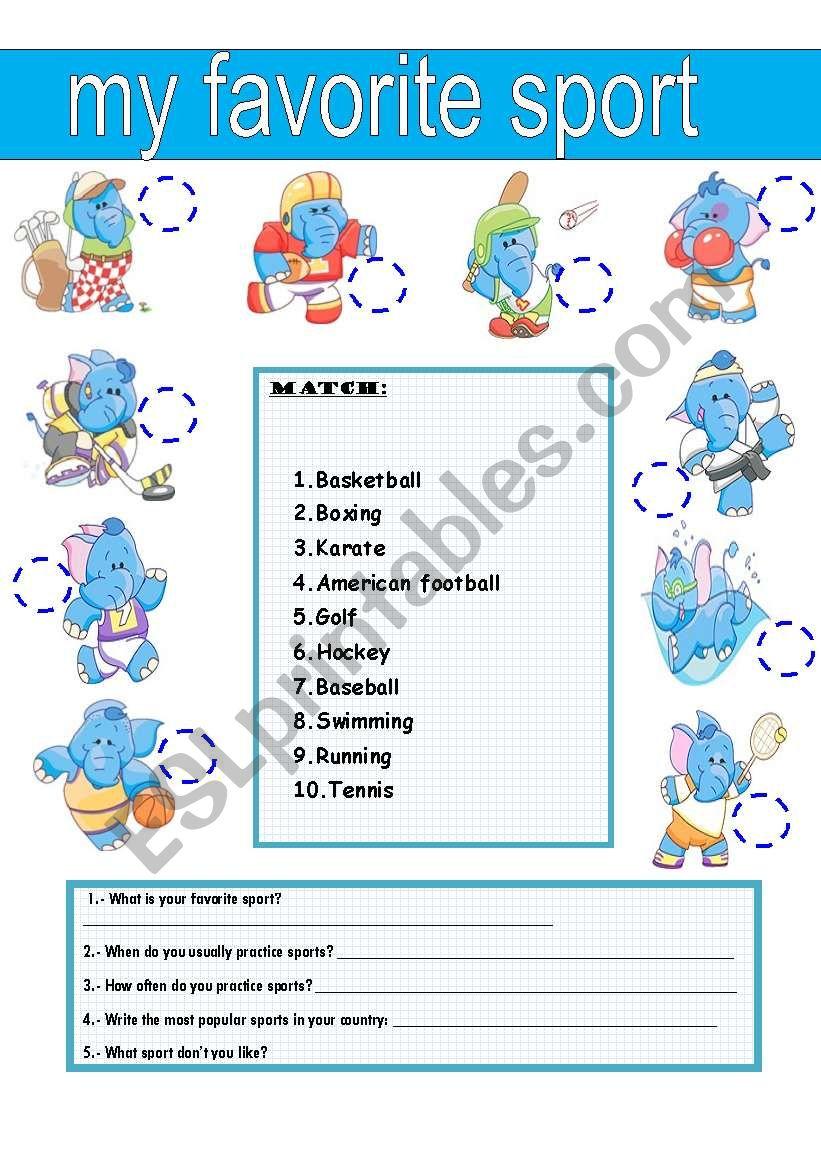 MY FAVORITE SPORT worksheet
