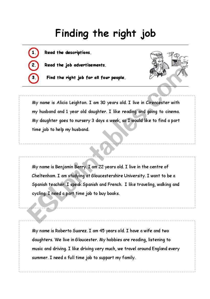 English worksheets: Finding the right job
