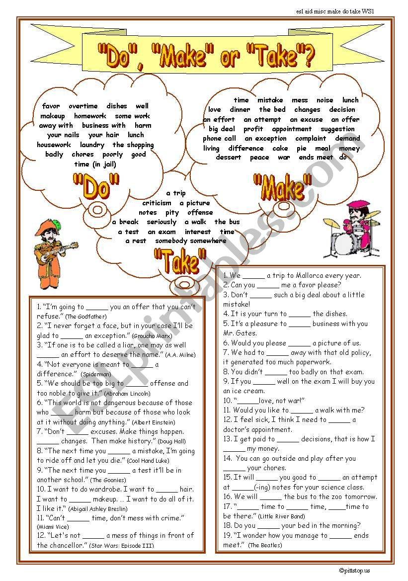 Do, Make  or Take worksheet