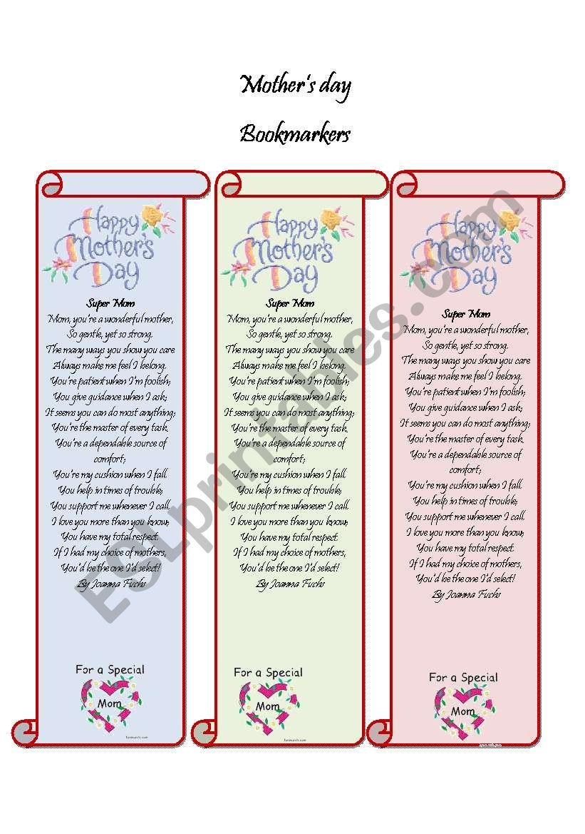 bookmarker mother s day esl worksheet by nssarj. Black Bedroom Furniture Sets. Home Design Ideas