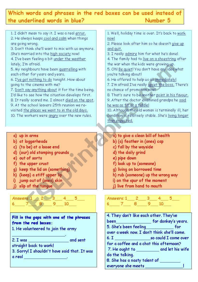 Synonyms 5 - ESL worksheet by Amanda W